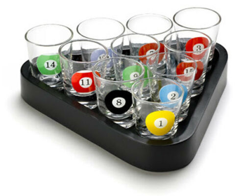 10 Pool Table Billiard Novelty Shot Glasses Ball Drinking Game Serving Tray Set