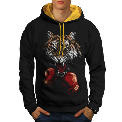 Tiger Boxer New Black Hoodie Gloves gold Animal Contrast Men Hood qqxprY4
