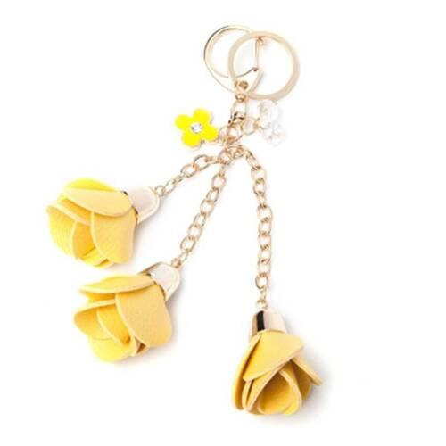 Rose Flowers Tassel PU Leather Keychain Handbag Purse Pendant Car Key Ring AdtN