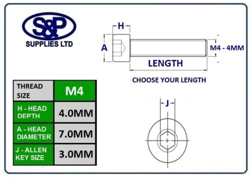 Tornillo de zócalo M4 Tapa De Cabeza Allen Perno Acero Grado 12.9 Cinc Plateado DIN912 4MM//4mm