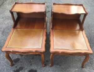 2 Antique QUEEN ANNE Leather Top Step End Tables Two Tier