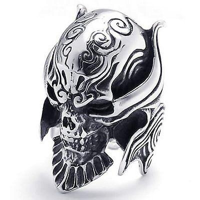 Men's Silver Gothic Skull Devil 316L Stainless Steel Rings Band Tone Vintag