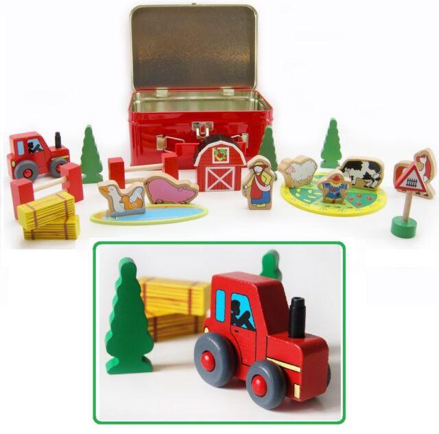 Wooden Farm Yard Pretend Play Set in Tin Case - Animals, Tractor, Farmer, House