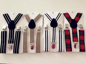 Boys-Kid-Children-retro-Party-Costume-Wedding-Stripe-Check-Suspender-Brace-Belt