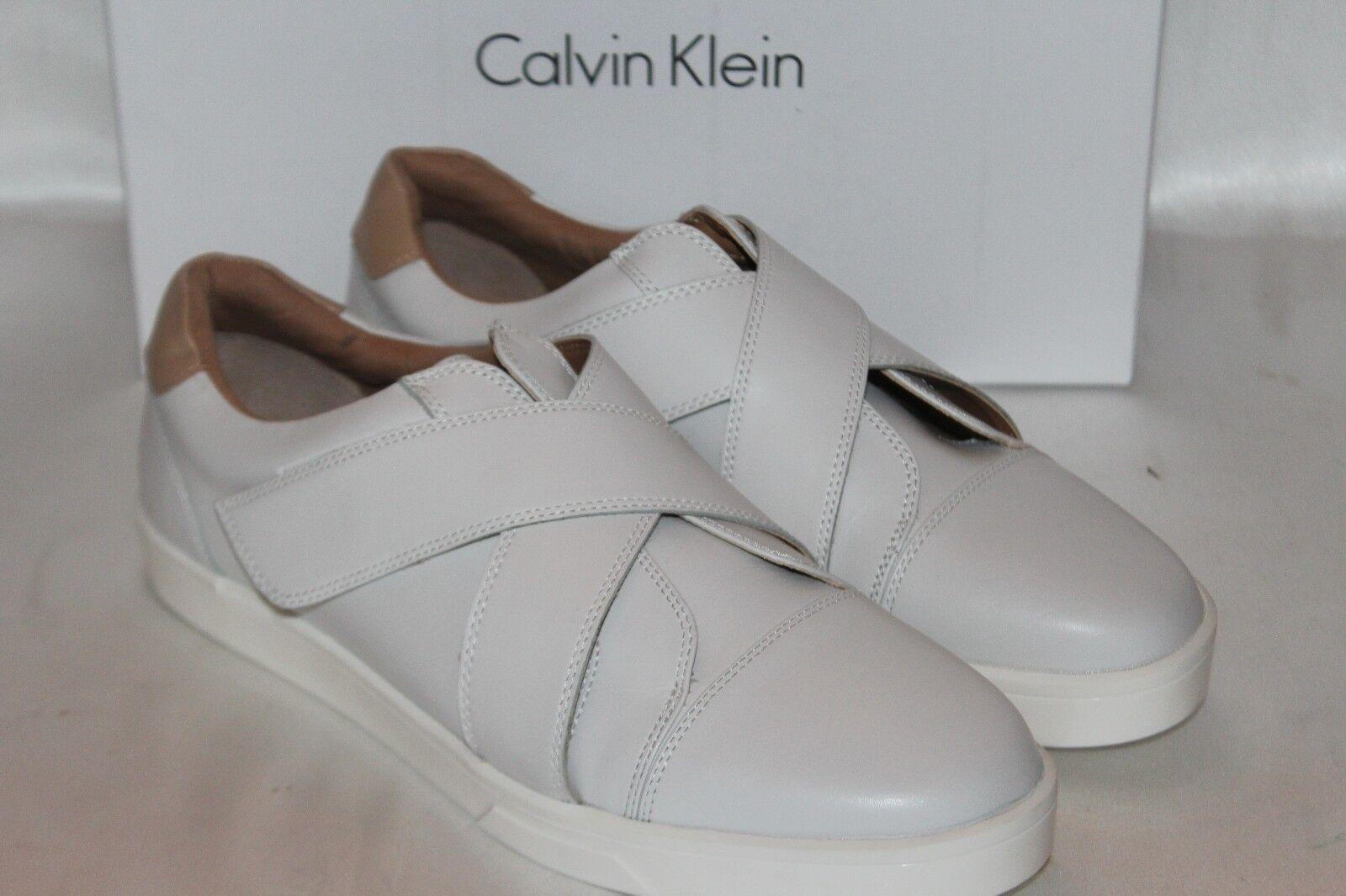 NEW  NIB  CALVIN KLEIN Platinum WEISS Leder ISSIE Criss Cross Sneaker Sz 10