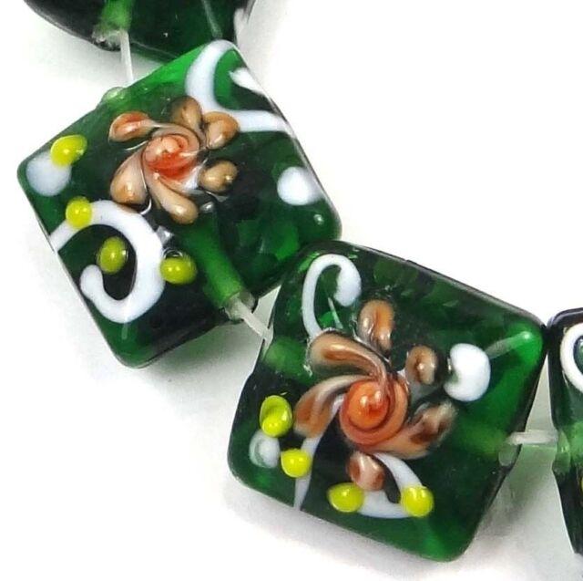 6 Lampwork Handmade Glass Green Emerald with Primrose Flower Square Beads 16mm