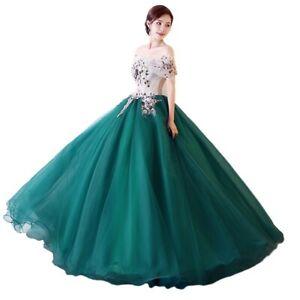 Women's Wedding Performance Quinceanera Dress Off the Shoulder Floral Evening L