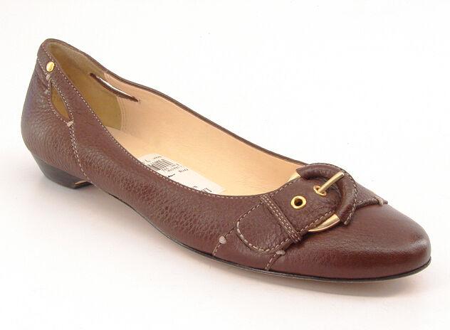 New CIRCA JOAN DAVID Donna Brown Pelle Slip On Dress Ballet Flat Shoe Sz 7.5 M