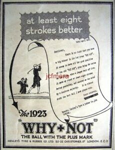 039-WHY-NOT-039-Golf-Balls-ADVERT-by-Henley-Tyres-Original-1923-Small-Print-AD