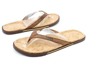 8db007a834678 UGG Bennison II Leather Cork Men s Flip Flops Thongs Luggage Brown ...
