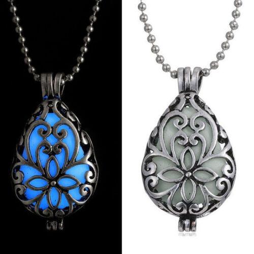 3 Colors Glowing Heart Drops Glow In Dark Choker Pendant Locket Hollow Necklaces