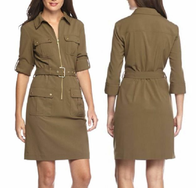 Michael Kors Green Duffle Womens Size Xs Zipped Belted Shirt Dress 107 Ebay