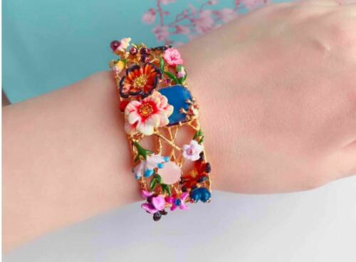 Les Nereides  MONET Winter Giverny Flower Enamel 14k GP Crystal Bracelet Bangle