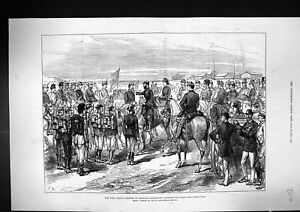 Old-Print-1877-War-Prince-Charles-Roumania-Decorating-Siers-Medals-Horse-19th