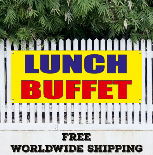 Banner Vinyl LUNCH BUFFET Advertising Sign Flag Eat Food Luncheon Quality Bar