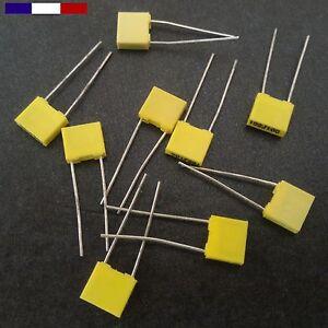 Condensateur film plastique MKT, pas 5.08, 100V, de 1 à 100 nF 5%