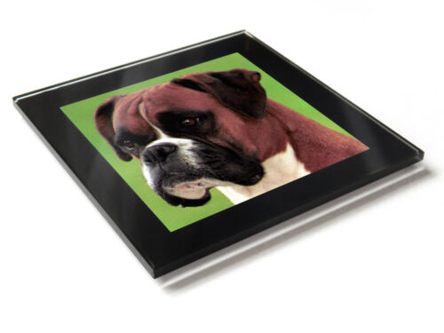 BOXER Dog Puppy Premium Glass Table Coaster with Gift Box