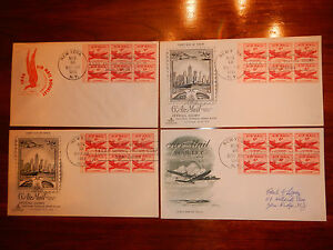 FDC Lot of 4 Airmail #C39a DC-4 Skymaster booklet pane of 6