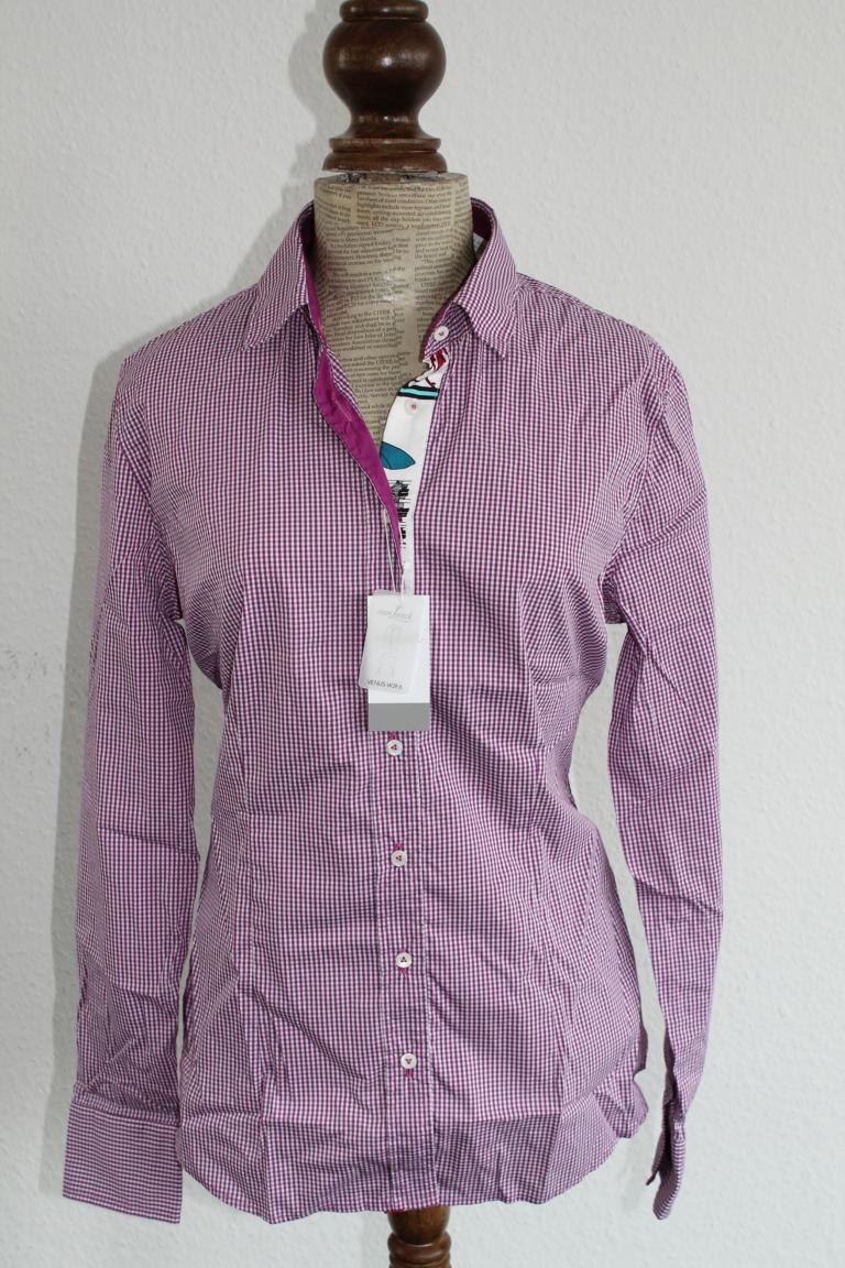 Van Laack Camicia da donna mis. 42-modello  VENERE  viola-bianco a quadri prezzo consigliato  199,00