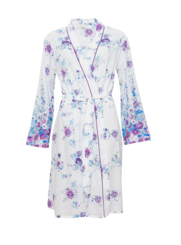 Ladies White Purple Blue Floral Summer Dressing Gown Robe ~ SIZE 8 12 14 16