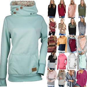 Details zu Damen Kapuzenpullover Hoodie Rollkragen Pullover Pulli Sweatshirts Jumper Winter