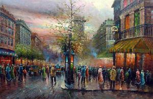 Art-oil-painting-Paris-Street-Scene-impressionism-landscape-in-sunset-France-36-034