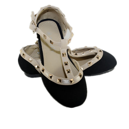 New Girls Kids Ballet Flats Black,Taupe Casual  Studded T-Starp Dress Shoes