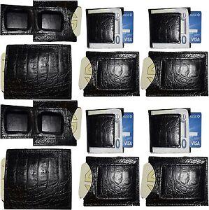Peau-de-Crocodile-Imprime-Cuir-Porte-Billets-Noir-a-Deux-Volets-Br-Neuf-Lot-12