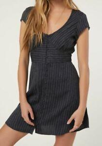 O-039-Neill-TRUDY-Womens-Flutter-Sleeve-Deep-V-Dress-Small-Navy-NEW