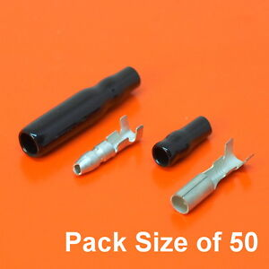 Lucas Style 3.9mm Tin Bullet Connectors Motorcycle Wiring & Black Covers x 50