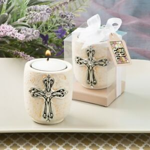 12-Cross-Tea-Light-Candle-Holder-Christening-Baptism-Religious-Party-Favors