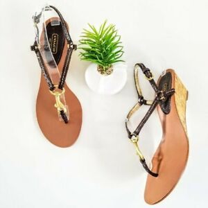 Coach-Gynger-Wedge-Sandals-Snake-Print-Brown-Leather-Womens-Cork-Heels-Size-8-5