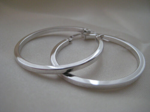 Large gold hoop earrings 9ct white gold flat 33mm diameter