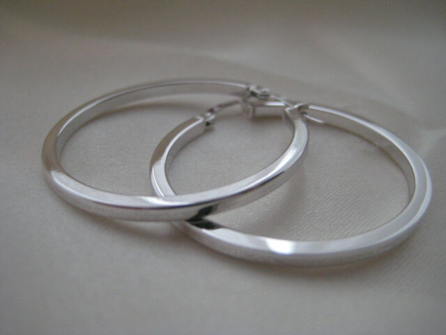 9ct white gold large 33mm classic flat hoop earrings PRICE DROP