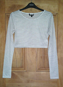 Topshop-New-Black-White-Striped-Sheer-Crop-Top-Size-6-8-10-12