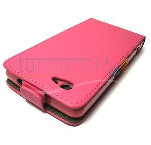 Cover-di-pelle-Premium-Rosa-Fucsia-Ultra-Sottile-per-Sony-Xperia-Z1-Compact