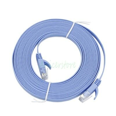 Blue 30m Ethernet Cable CAT 6 Flat High Speed Gigabit LAN Network Patch Router Hub Modem Cable