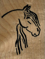 Mounted Rubber Stamps Horse Head Sketch Wood Mount 1 3/4 X 2 1/4