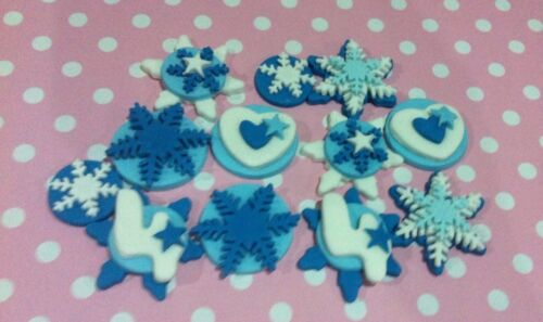 Edible FROZEN Inspired X 12 Snowflake Toppers CAKE CUPCAKE Decoration any Number