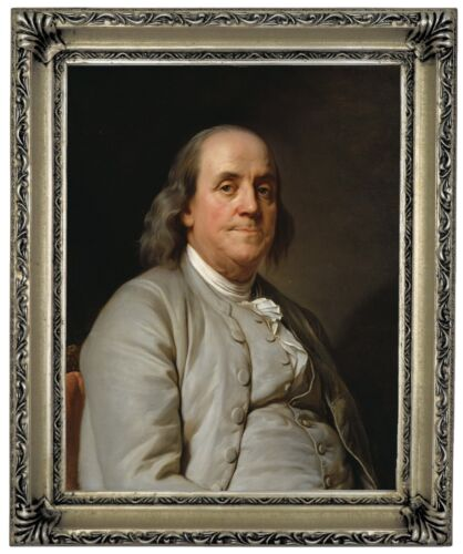 Duplessis Benjamin Franklin 1785 Wood Framed Canvas Print Repro 11x14