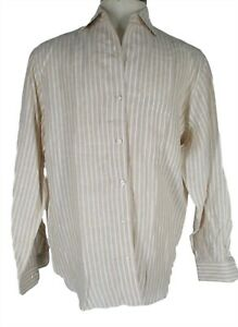 Paul-Stuart-Mens-Beige-Stripe-Long-Sleeve-Linen-Cooper-Shirt-L-Italy