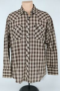 Vintage-Montgomery-Ward-Mens-L-Brown-Plaid-Pearl-Snap-Western-Button-Up-Shirt