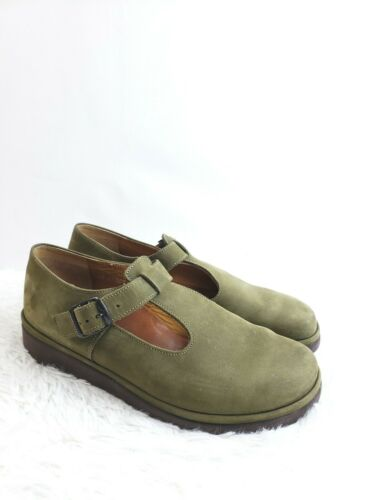 Mephisto Size 8.5 T Strap Flats Buckle Shoes Green