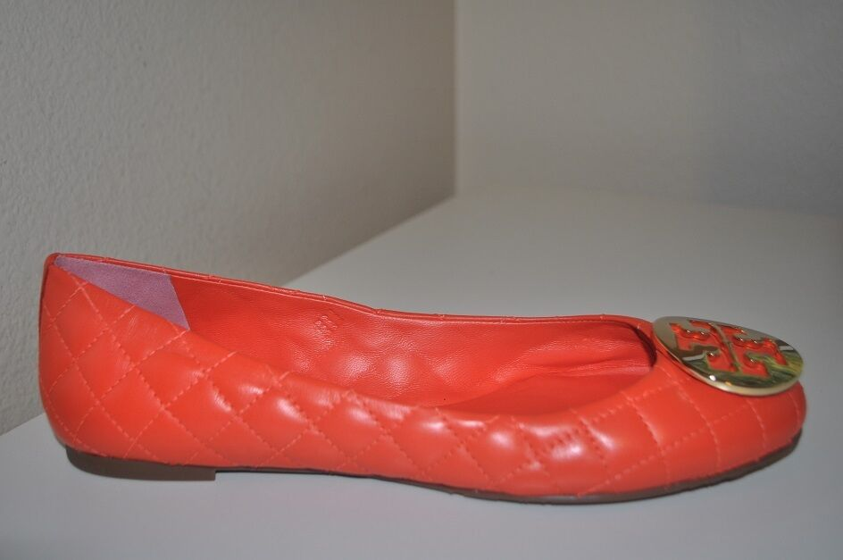 Sconto del 70% Tory Burch Burch Burch QUINN Quilted arancia Leather Ballet Flat oro Logo Sz 10 Reva  Felice shopping