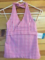 Patsy Aiken Chez Ami Girls $49.00 Chez Belle Pink Check Halter Top Size 8