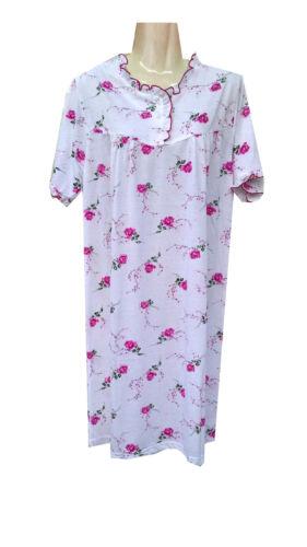 SUMMER NIGHT Nachthemd Kurzarm Baumwolle mit 3 Leichtern knopfleiste