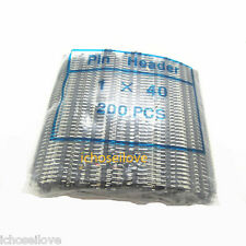 200pcs Straight Single Row Breakaway Male Pin header 1x 40pin 2.54mm for Arduino