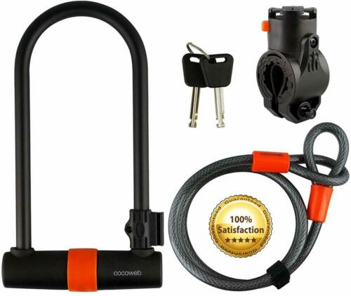 Cocoweb Heavy Duty Flex Cable With U Lock For Bicycle With Lock Mounting Bracket