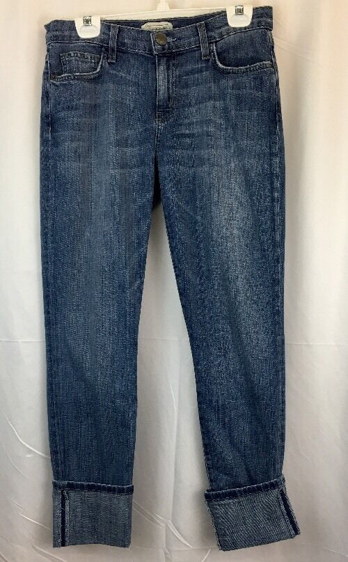 Current Elliot Jeans Women's Size 28 Cuffed Skinny Fit Light Washed Whiskered