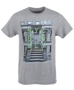 Univibe-Mens-T-Shrit-Heather-Gray-Medium-M-Striped-Stoop-NYC-Graphic-Tee-362